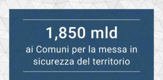 1,850 mld ai Comuni per la messa in sicurezza del territorio